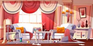 Upaćkany żywy izbowy pełny śmieciarski kreskówka wektor ilustracji