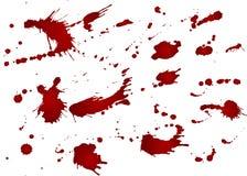 Upaćkany krwionośny kleks, czerwone krople na białym tle Wektorowa ilustracja, maniaczka styl Duzi pluśnięcia Fotografia Royalty Free