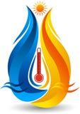 Upału i chłodno wody logo ilustracji