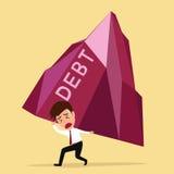 Upadłościowy pojęcie, biznesmen znoszący dużego dług Zdjęcie Stock