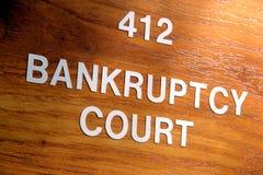 upadłościowy sala sądu wejścia sędziego pokoju znak Zdjęcie Stock