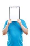 Upbeat man holding folder Stock Image