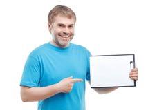 Upbeat man holding folder Stock Images