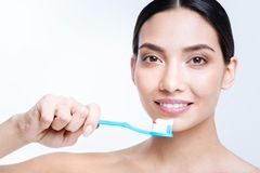 Upbeat young woman brushing her teeth Stock Images