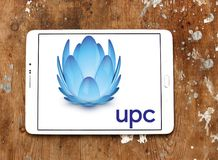 UPC Broadband logo. Logo of UPC Broadband on samsung tablet . UPC Broadband is a pan-European telecommunications company owned by Liberty Global and is active in royalty free stock photo