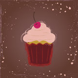 Сupcake with cherry. Сupcake with a cherry in vintage style Stock Photography