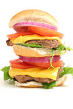 Upclose do branco do cheeseburger da ponte dobro Imagem de Stock Royalty Free
