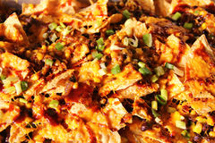 Upclose dos Nachos do BBQ Fotografia de Stock