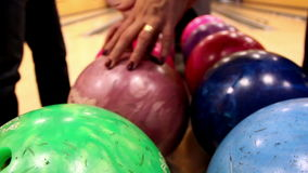 Upclose image of bowling ball stock footage