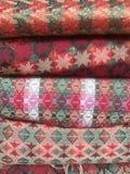 Upclose tecido da tela do Nepali mão tradicional Fotografia de Stock Royalty Free