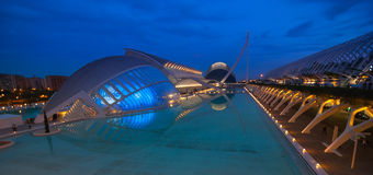 Upcoming Evening meeting at L'hemispheric in Valencia, City of Arts and Sciences. Royalty Free Stock Photo