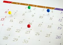 Upcoming events calendar. Upcoming events. Calendar with thumbtacks as a concept of events stock images