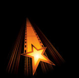Upcoming new movies. Big gold star with film are coming Stock Photos