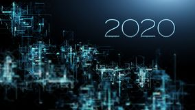 Upcoming 2020 new year with internet web connection grid stock illustration