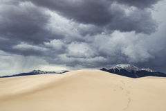 Upcoming Storm. Over Great Sand Dunes National Park, Colorado, USA royalty free stock image