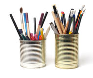 Upcycling, Writing Accessories in Cans Royalty Free Stock Image