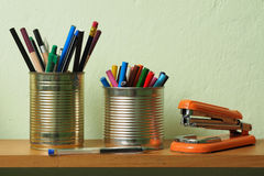 Upcycling, Writing Accessories in Tin Can Royalty Free Stock Photography