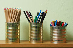 Upcycling, Writing Accessories in Tin Can Stock Images