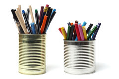 Upcycling, Writing Accessories in Tin Cans Royalty Free Stock Images