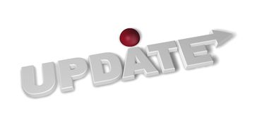 Update. The word update with arrow and red sphere - 3d illustration Stock Photography