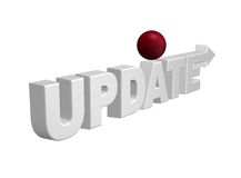 Update. The word update with arrow and red sphere - 3d illustration Royalty Free Stock Image