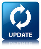 Update blue square button Stock Photography