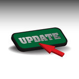 Update button. Colorful background with red cursor pushing an update button Royalty Free Stock Images