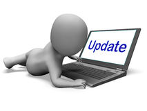 Update Character Laptop Means Updating Modifying Or Upgrading Royalty Free Stock Photography