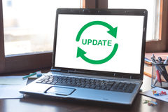 Update concept on a laptop screen Stock Photography