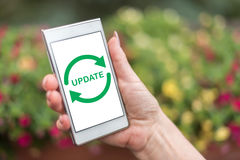 Update concept on a smartphone Royalty Free Stock Images