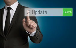 Update internet browser is operated by businessman Royalty Free Stock Photography