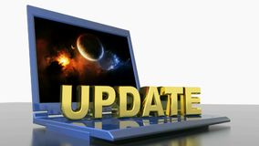 UPDATE on laptop computer - 3D rendering video royalty free illustration