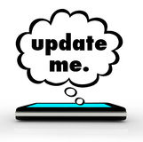 Update Me Smart Cell Phone Words Thought Cloud Royalty Free Stock Image