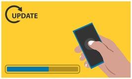 Update met hand - gehouden smartphone op de gele achtergrond Vlakke vectorillustratie stock illustratie