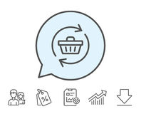 Update Shopping cart line icon. Online buying. Stock Photos