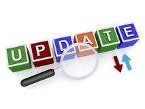 Update sign with directional arrows. Letters blocks spelling the word update with upload and download arrows next to a magnifying glass, white background Stock Photos