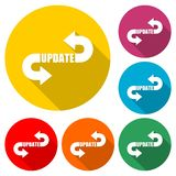 Update Software sticker or logo, Concept meaning replacing program with a newer version of same product, color set with long shad. Ow on white royalty free illustration
