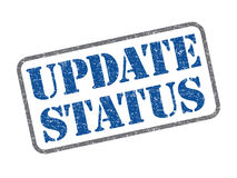 Update status. Blue color update status rubber stamp Stock Photo