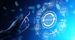 Update System Upgrade Software version technology concept on virtual screen. Update System Upgrade Software version technology concept on virtual screen royalty free stock photo