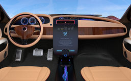 Update vehicle software just touch car's center console screen. Royalty Free Stock Image