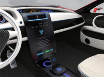 Update vehicle software just touch cars center console. Screen. Concept for new software solution for automobile. Original design Royalty Free Stock Image