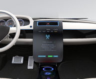 Update vehicle software just touch cars center console. Screen. Concept for new software solution for automobile. Original design Stock Images