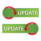 Update Web button set. green button Stock Photography