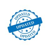 Updated stamp illustration. Updated blue stamp seal illustration design Stock Photo