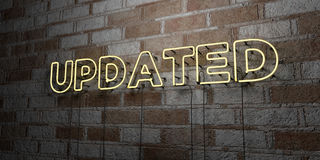 UPDATED - Glowing Neon Sign on stonework wall - 3D rendered royalty free stock illustration Royalty Free Stock Images