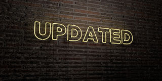 UPDATED -Realistic Neon Sign on Brick Wall background - 3D rendered royalty free stock image. Can be used for online banner ads and direct mailers Royalty Free Stock Image