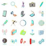 Updated technology icons set, cartoon style Royalty Free Stock Images