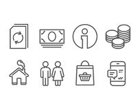 Updatedocument, Toilet en Online het kopen pictogrammen Uiteinden, Contant geldgeld en Smartphone-berichttekens vector illustratie