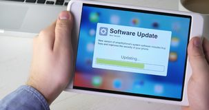 Updating digital tablet system software. Stock footage stock footage