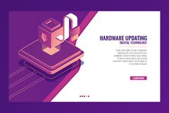 Updating, modernization, improvement of the device, increasing efficiency, module installation, Server isometric vector Royalty Free Stock Photo